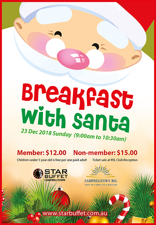 BREAKFAST WITH SANTA AT STAR BUFFET CAMPBELLTOWN