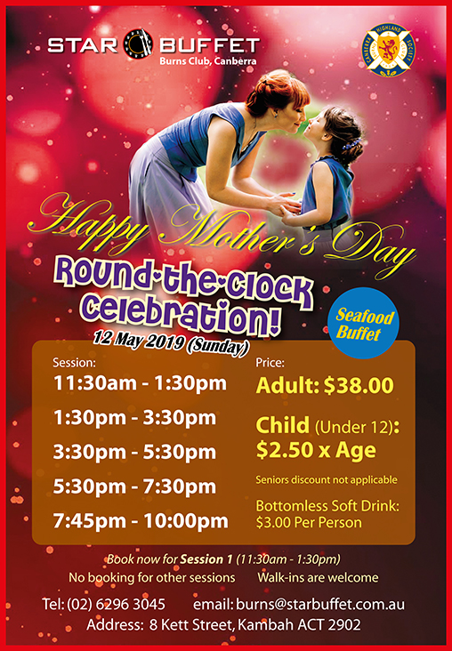 MOTHER'S DAY ROUND THE CLOCK CELEBRATION AT STAR BUFFET CANBERRA